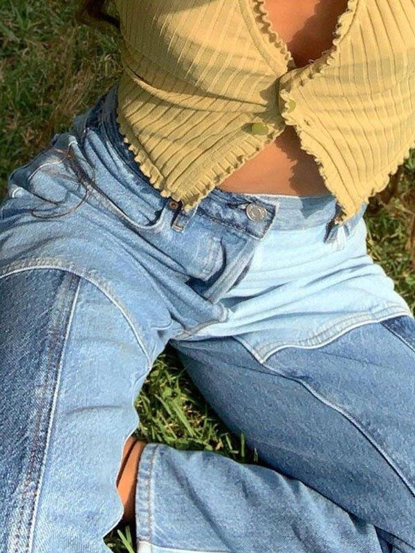 Vintage High Waist Splice Slim Jeans - Blue L