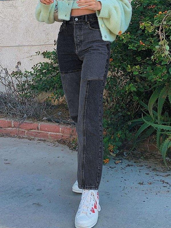 Vintage High Waist Splice Slim Jeans - Black L