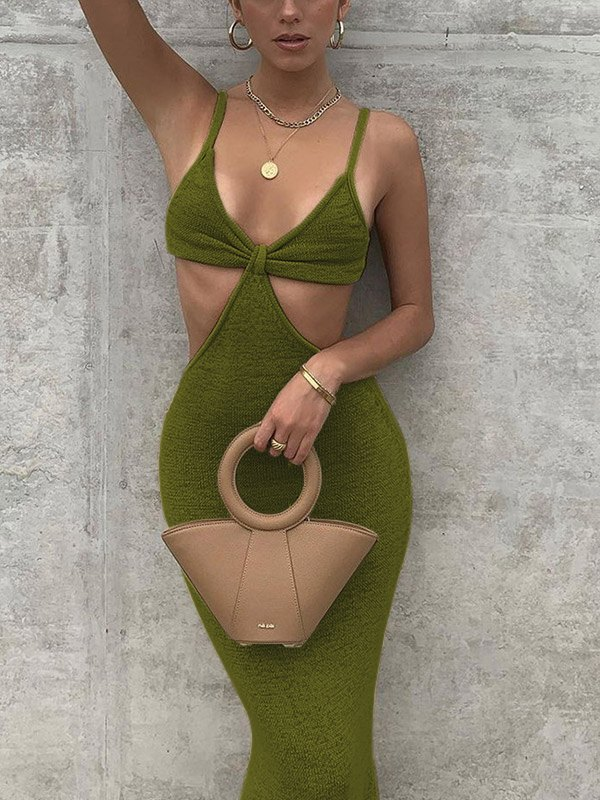 Cutout Cami Party Maxi Dress - Green L