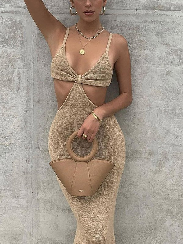 Cutout Knitted Cami Party Maxi Dress - Apricot M