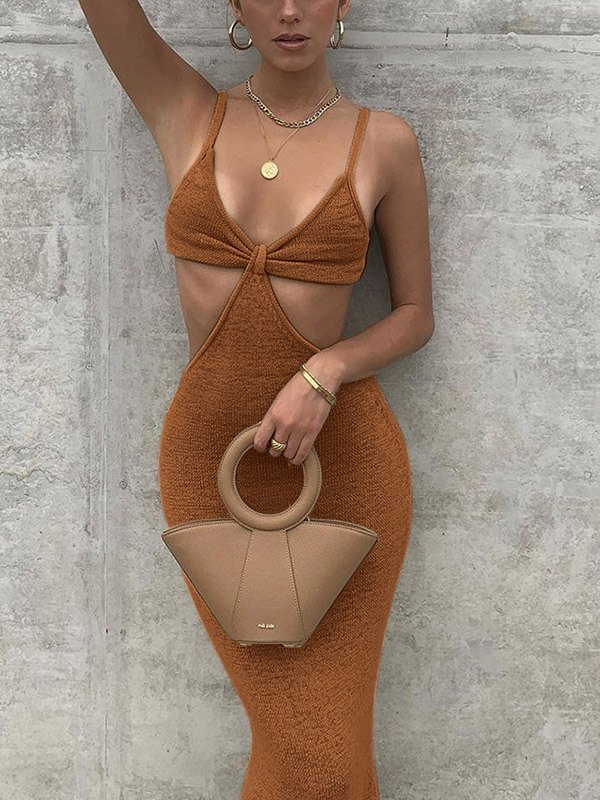 Cutout Knitted Cami Party Maxi Dress - Coconut Brown L