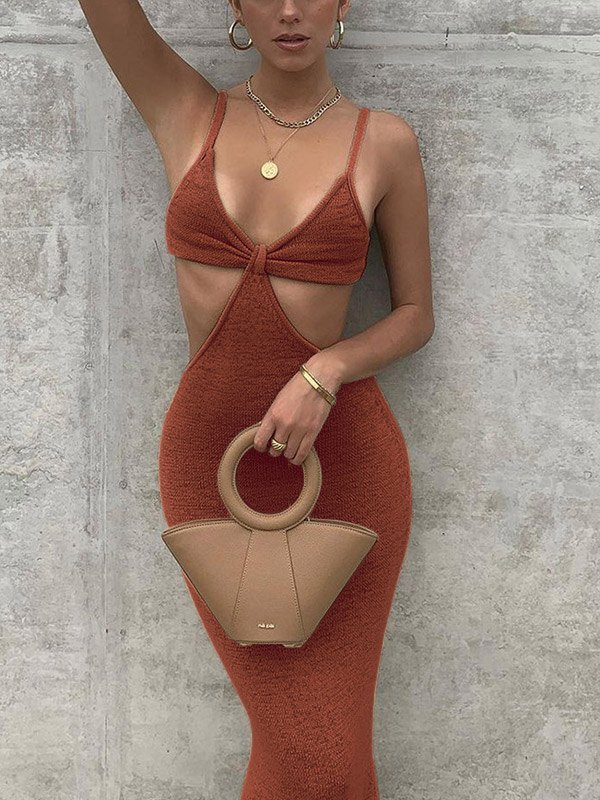 Cutout Knitted Cami Party Maxi Dress - Brown L