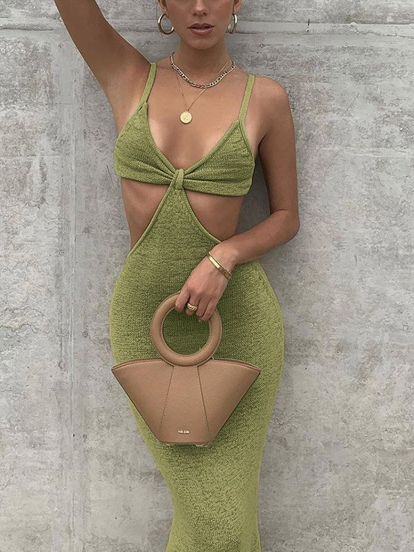 Cutout Knitted Cami Party Maxi Dress - Green L