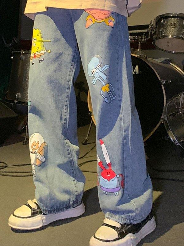 Cartoon Print Boyfriend Jeans - Blue S
