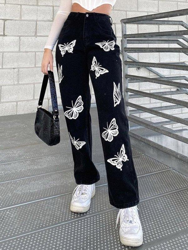 Butterfly Print High Waist Slim Jeans - Black S