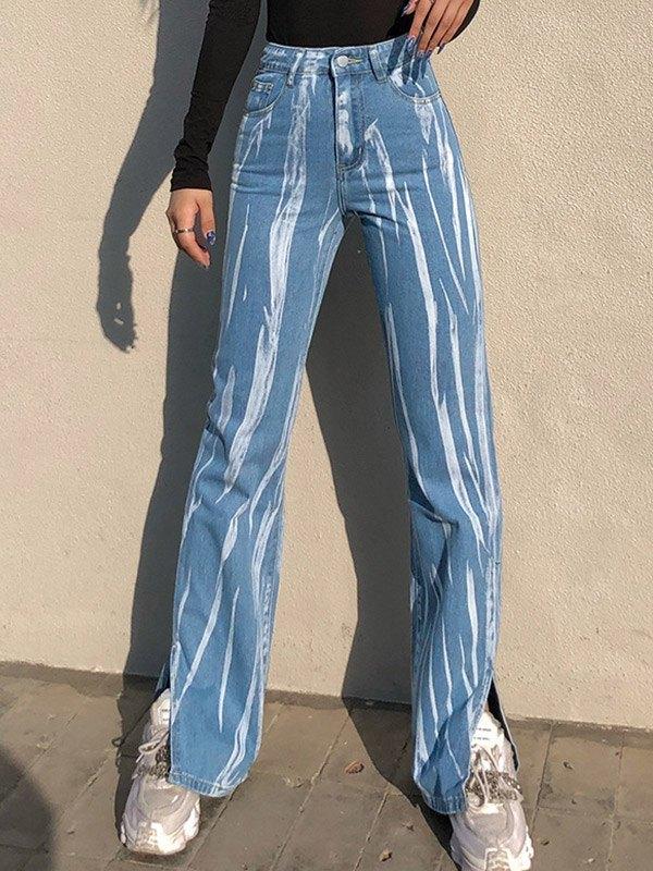 Graffiti Print High Waist Slim Jeans - Blue M