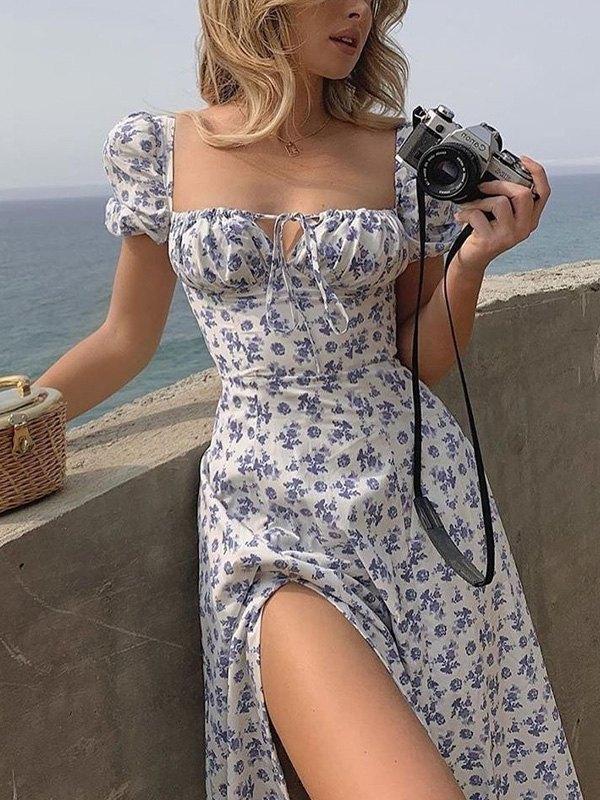 Ditsy Floral Split Maxi Dress - Blue S