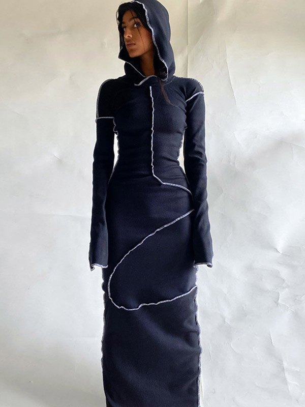 Seam Detail Hooded Maxi Dress - Black M