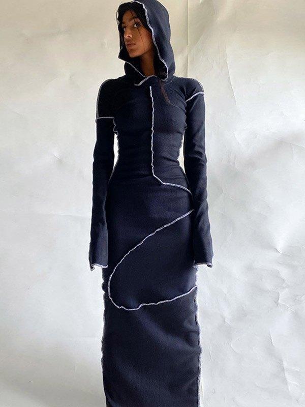 Seam Detail Hooded Maxi Dress - Black L