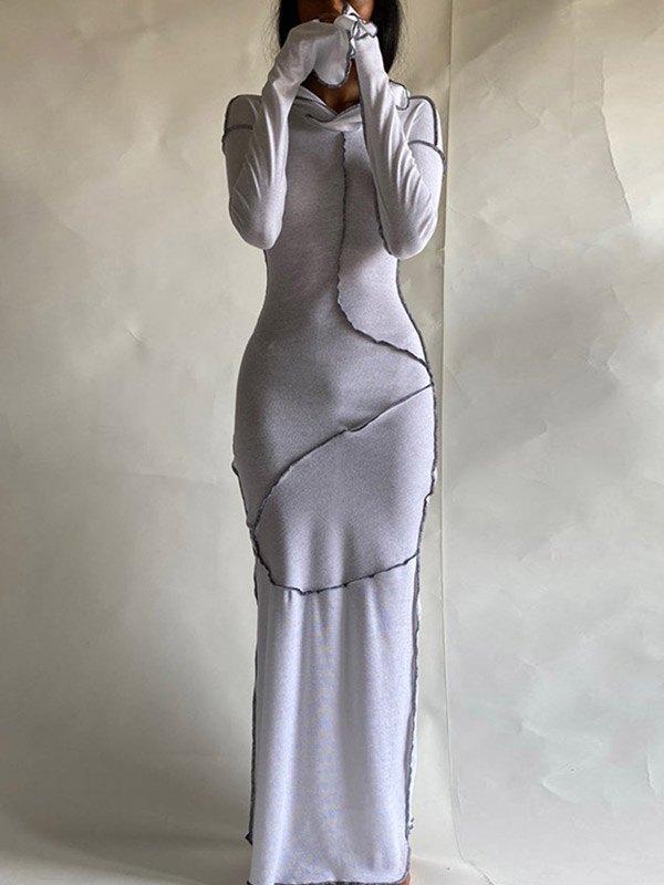 Seam Detail Hooded Maxi Dress - Gray M