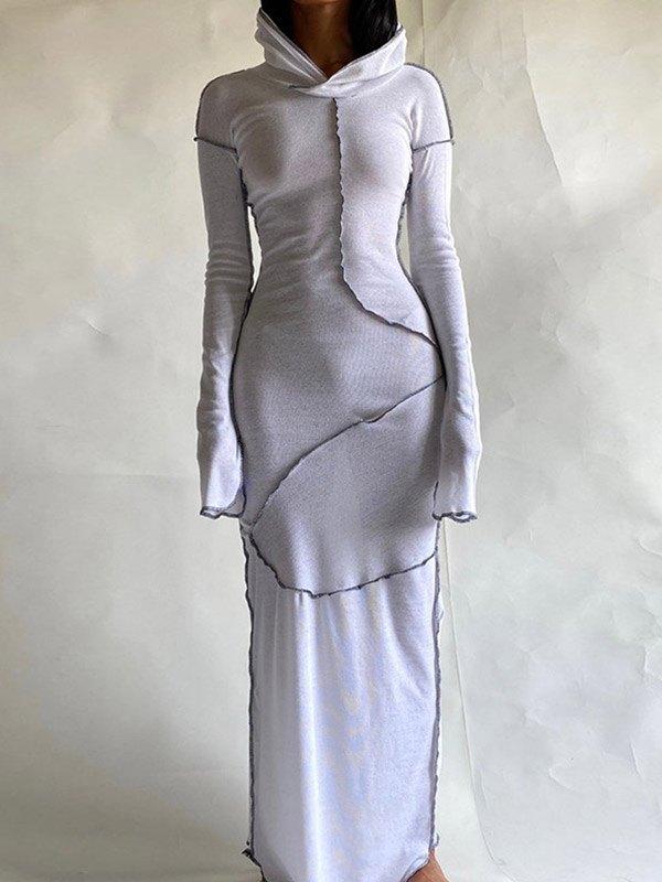Seam Detail Hooded Maxi Dress - White L