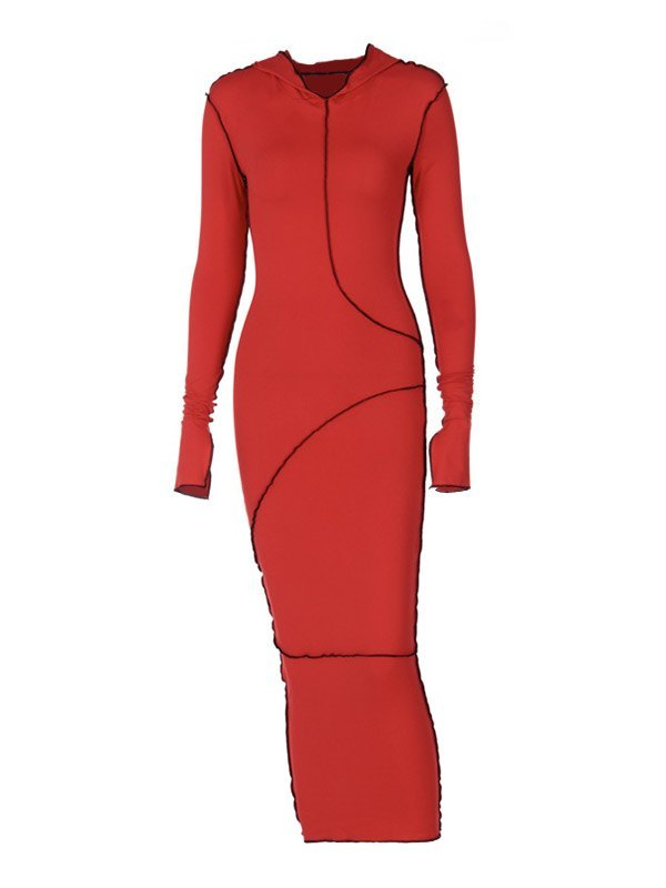 Seam Detail Hooded Maxi Dress - Red S
