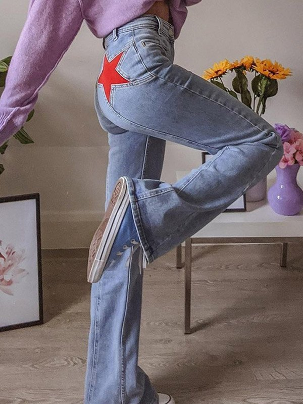 Jeans svasati con stelle patchwork sul retro - Blu S