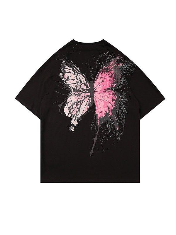 Men's Splash Butterfly Short Sleeve Tee - Black S