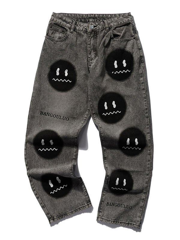 Men's Smiley Face Casual Skate Jeans - Dark Gray L