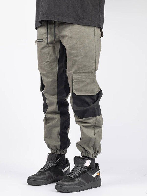Men's Patchwork Casual Cargo Pants - Gray M