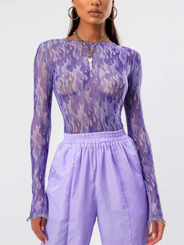 Flame Print Tulle Top - Purple S