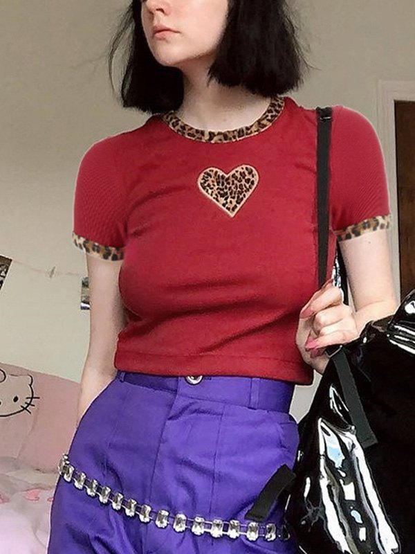Leopard Heart Patched Crop Top - Red S