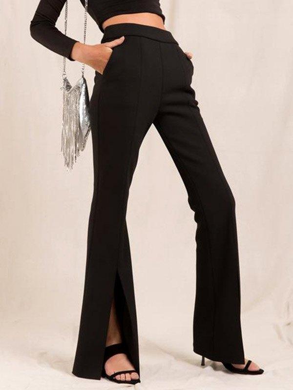 2021 Pantalon évasé Taille Haute Fendu Sur Le Devant Noir L In Pantalons Online Store Best For Sale Emmiol Com