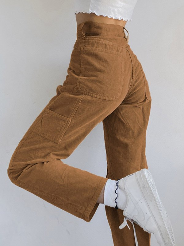 Vintage Corduroy Straight Pants - Apricot S