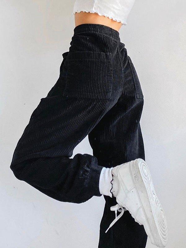 Pantaloni dritti a vita alta in velluto a coste - Nero S