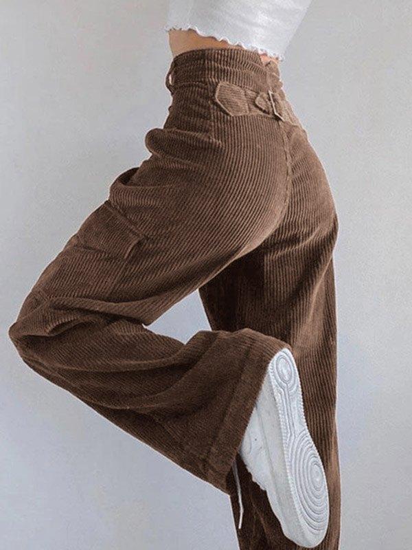 Pantaloni larghi di velluto a coste vintage - Marrone S