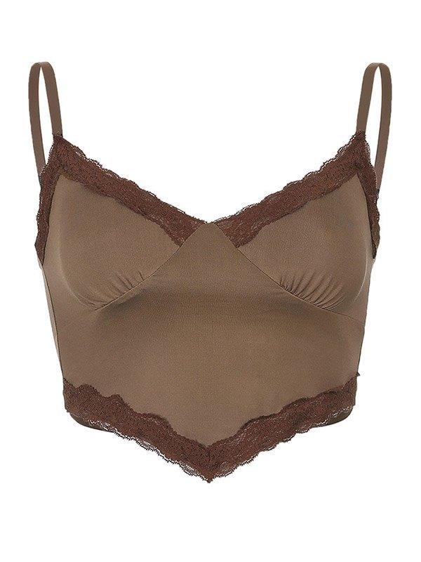 Contrast Lace Trim Crop Cami Top - Coconut Brown M