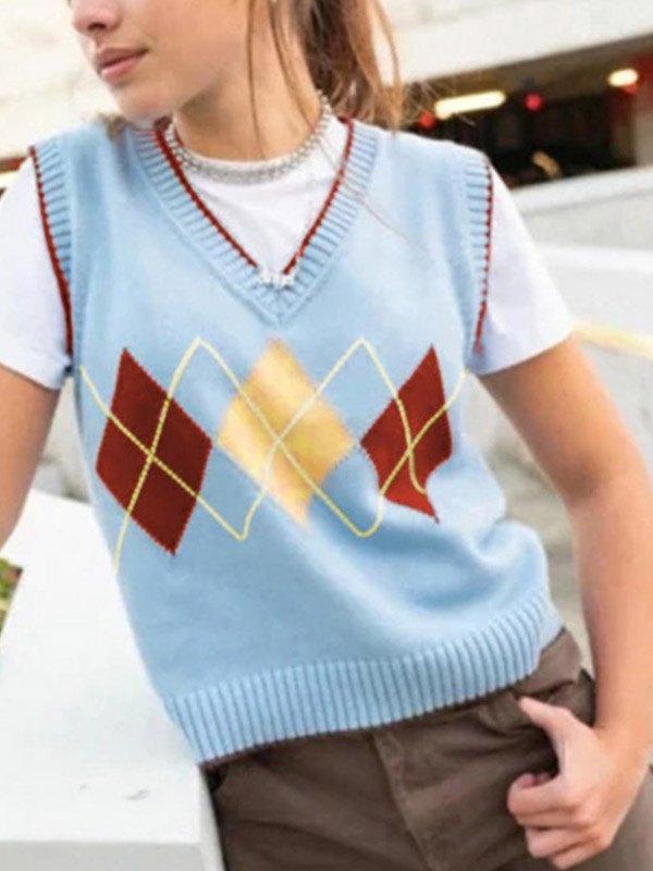 Argyle Pullover Sweater Vest - Blue ONE SIZE