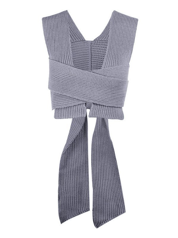 Cross Over Lace Up Cropped Sweater Vest - Gray ONE SIZE