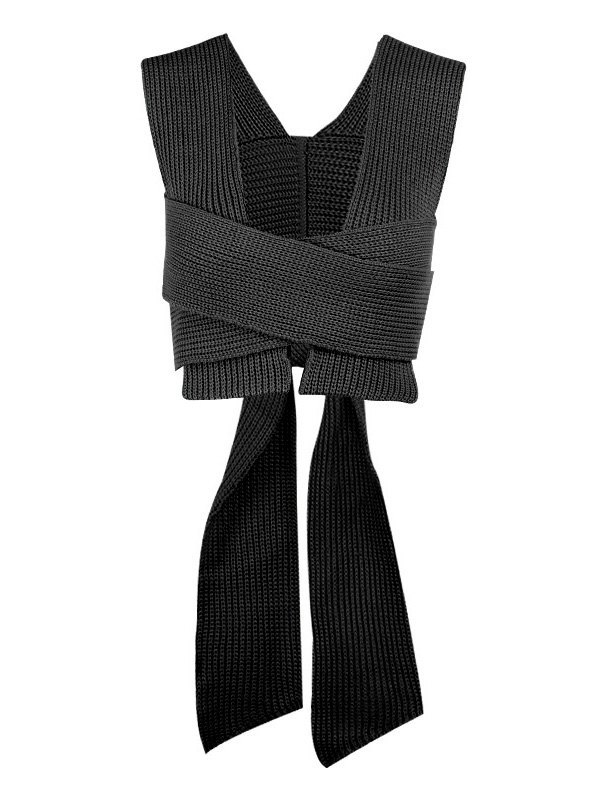 Cross Over Lace Up Cropped Sweater Vest - Black ONE SIZE