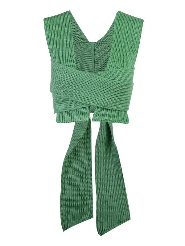 Cross Over Lace Up Cropped Sweater Vest - Green ONE SIZE