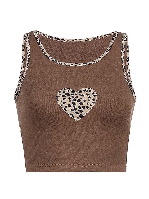 Camiseta sin mangas corta de canalé con corazón de leopardo - Café S