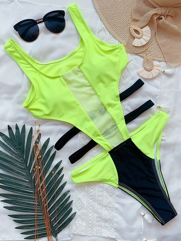 Cutout Color Block Bikini - Sorbet Lime Green S