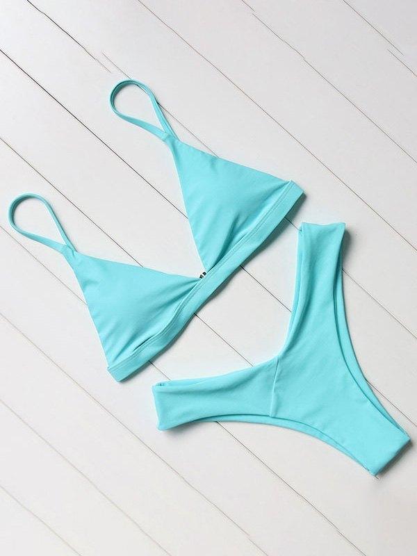 Push Up Micro Bikini Set - Pure Blue M