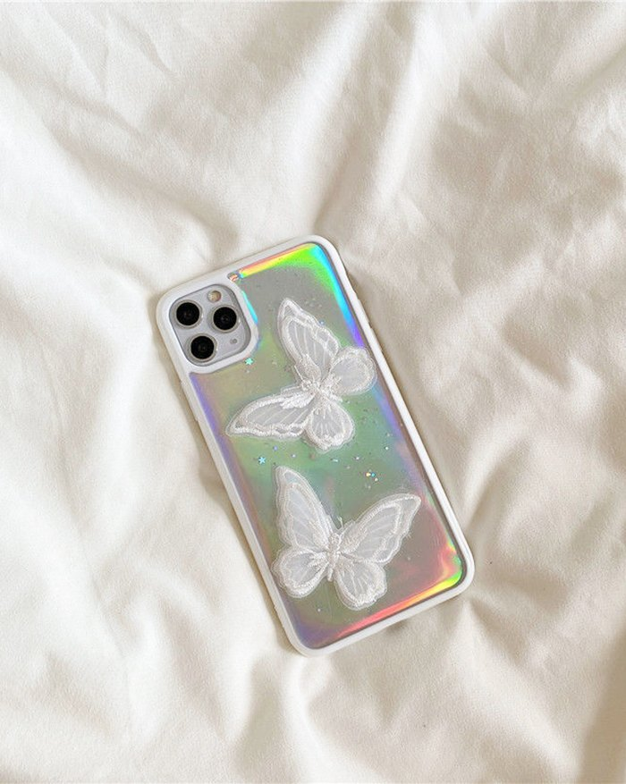 Laser Color Butterfly Iphone Case - White iPhone 11