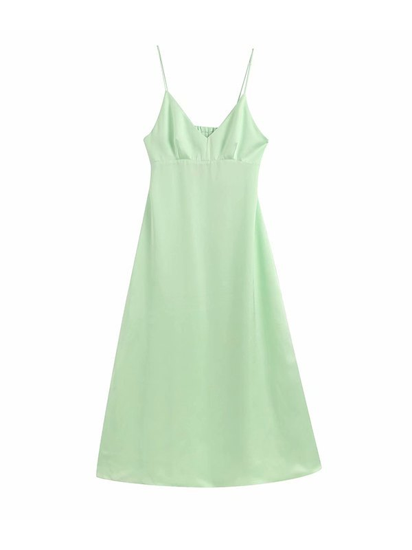 Back Cut-out Cami Dress - Green M