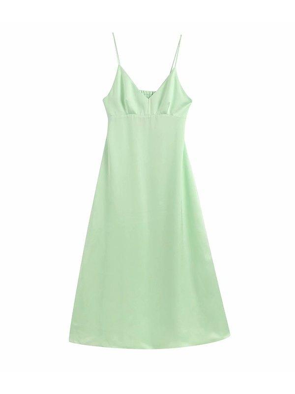 Back Cut-out Cami Dress - Green XS
