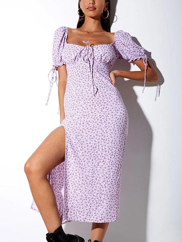 Floral Print High Slit Dress - Lavender L