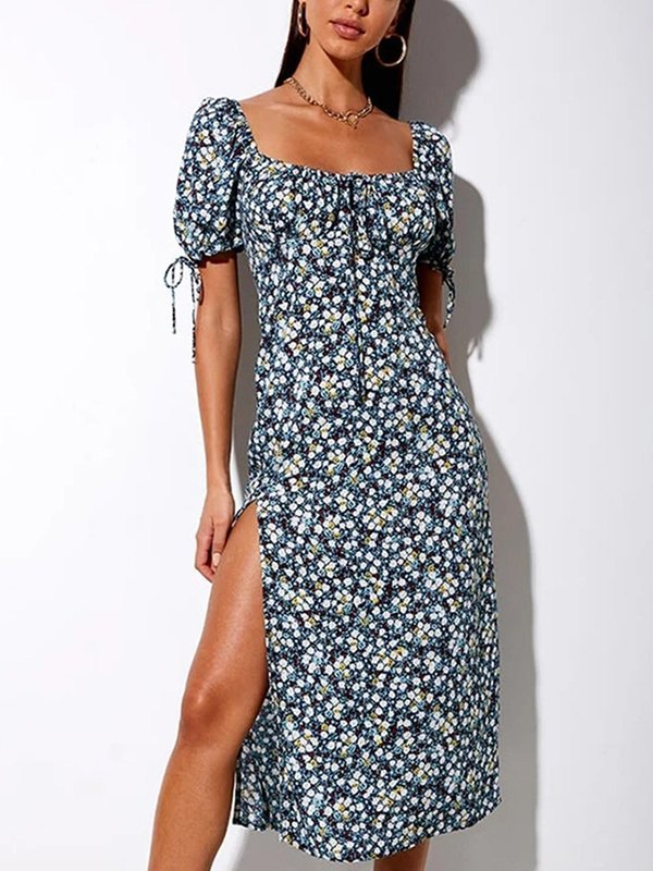 Floral Print High Slit Dress - Blue L