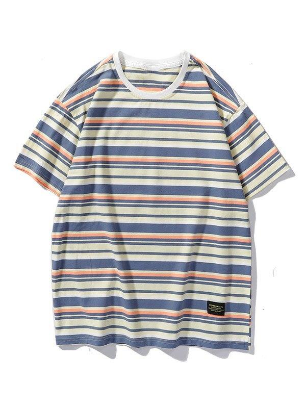 Men's Vintage Striped Short Sleeve Tee - Yellow L