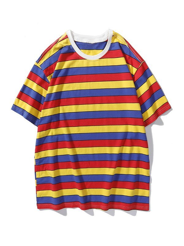 Men's Color Block Striped Short-Sleeve Tee - Orange L