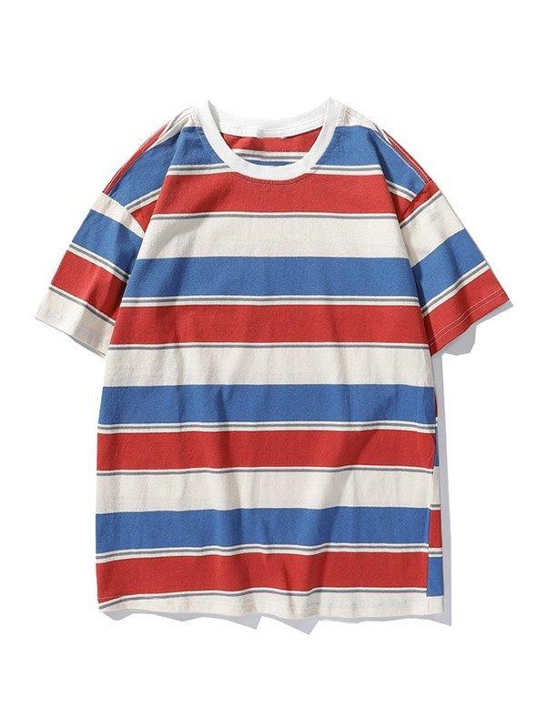 Men's Striped Short Sleeve Tee - Orange M