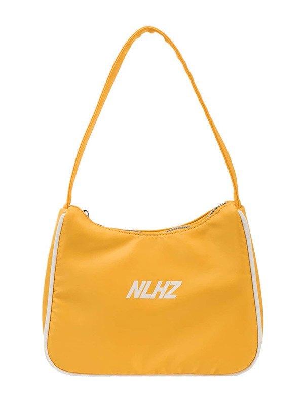 Letter Print Nylon Baguette Bag - Yellow ONE SIZE