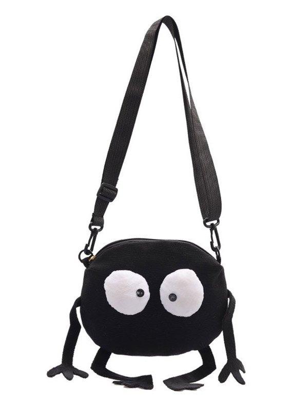 Cute Monster Canvas Shoulder Bag - Black ONE SIZE
