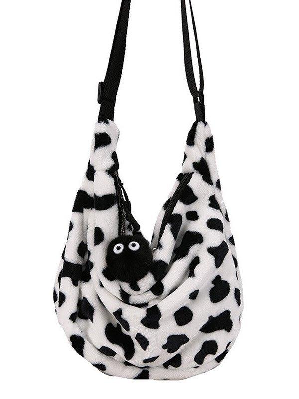 Leopard Print Fuzzy Shoulder Bag - Leopard Print ONE SIZE