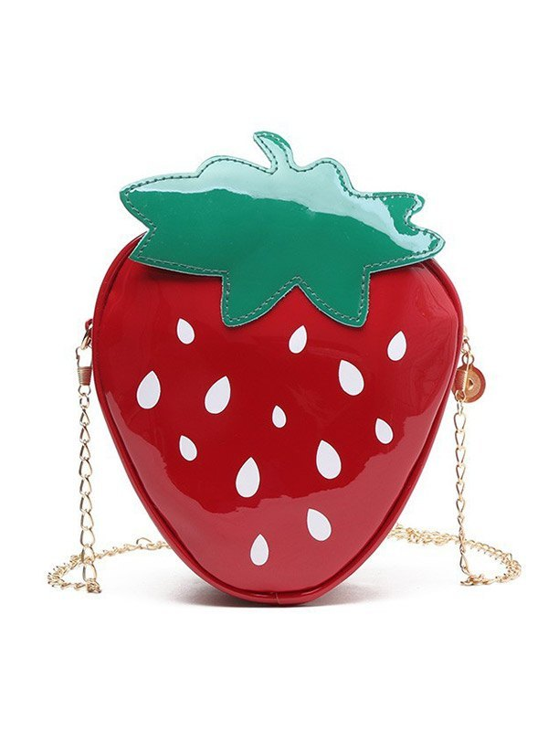 Strawberry Chain Crossbody Bag - Red ONE SIZE
