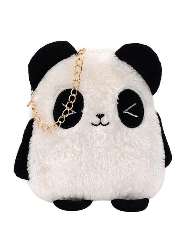 Fuzzy Panda Chain Shoulder Bag - As The Picture ONE SIZE