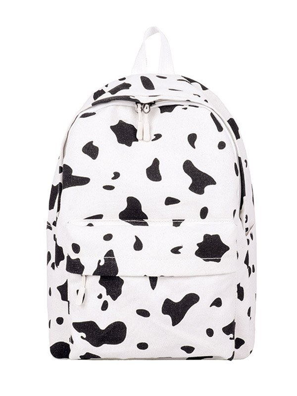 Cow Print Canvas Backpack Bag - White ONE SIZE