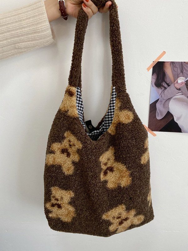 Fuzzy Teddy Bear Reversible Shoulder Bag - Coffee ONE SIZE