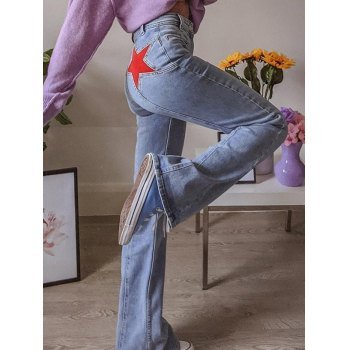 Back Star Patchwork Flare Jeans